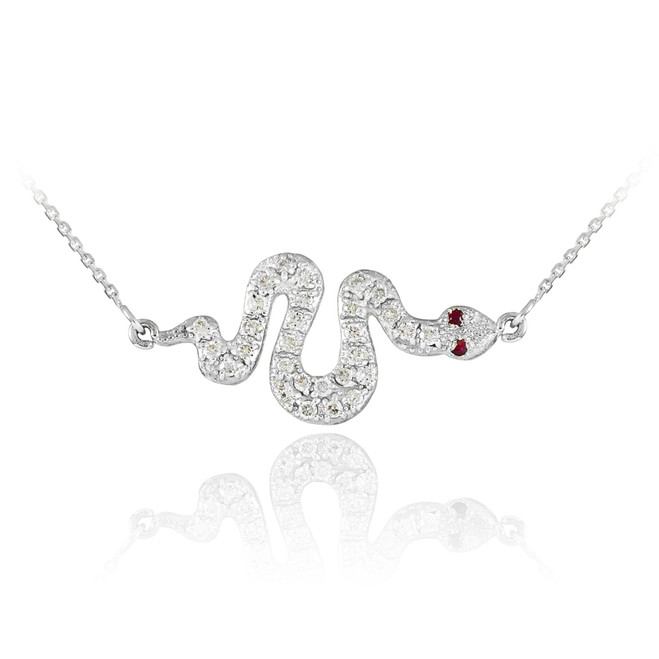 14K White Gold CZ Snake Pendant Necklace