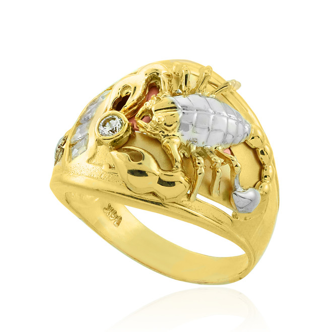 Multi-tone Gold Scorpion Men's CZ Ring