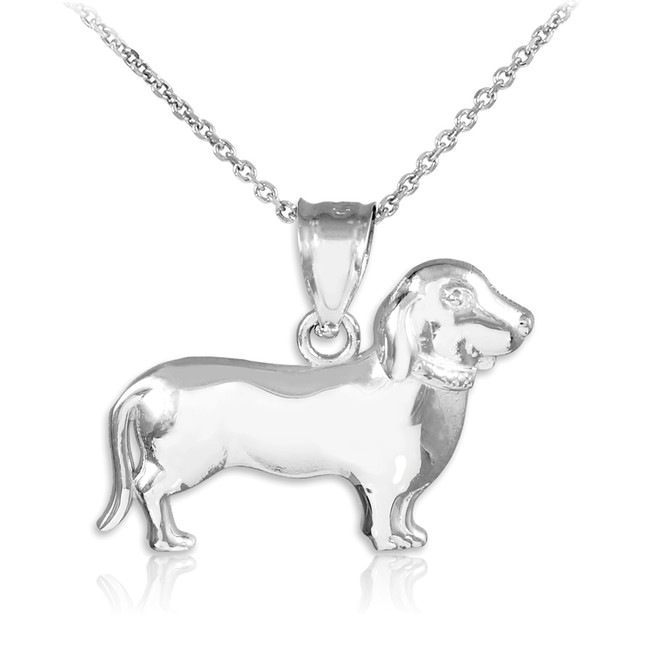 White Gold Weiner Dog Dachshund Puppy Charm Pendant Necklace