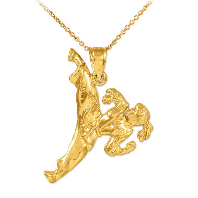 Female Karate Gold Sports Pendant Necklace