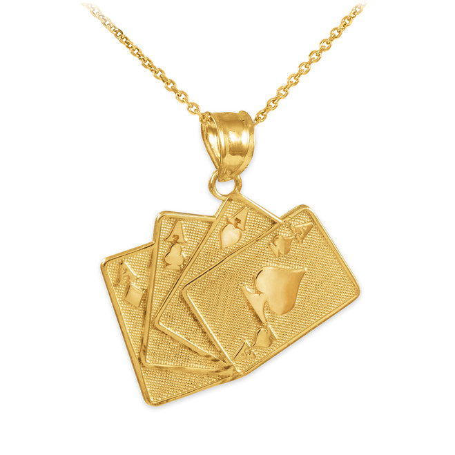 Four of a Kind Playing Cards Gold Charm Pendant Necklace