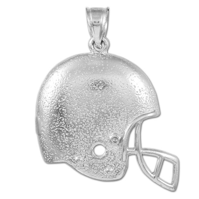 Football Helmet White Gold Sports Pendant