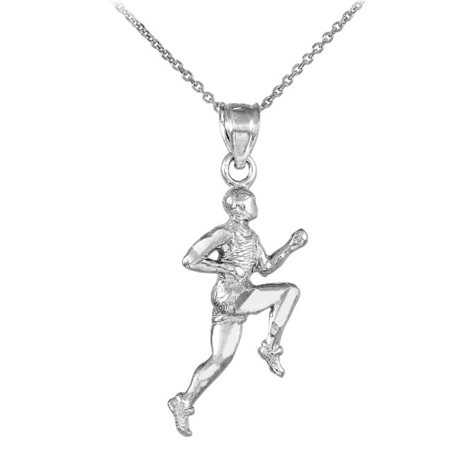 White Gold Runner Sports Pendant Necklace