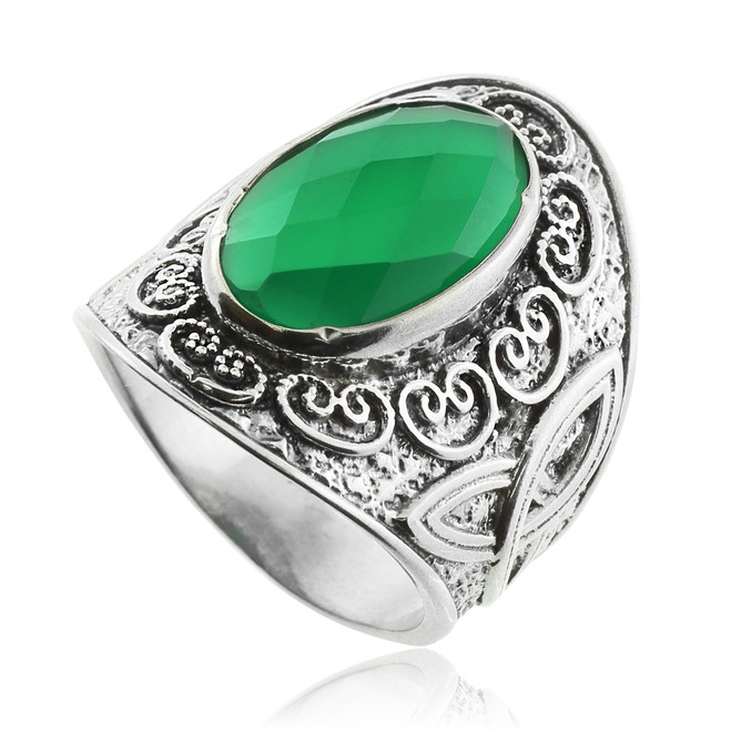 Green Agate Silver Celtic Ring