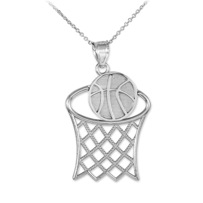 Basketball Hoop Silver Sports Pendant Necklace