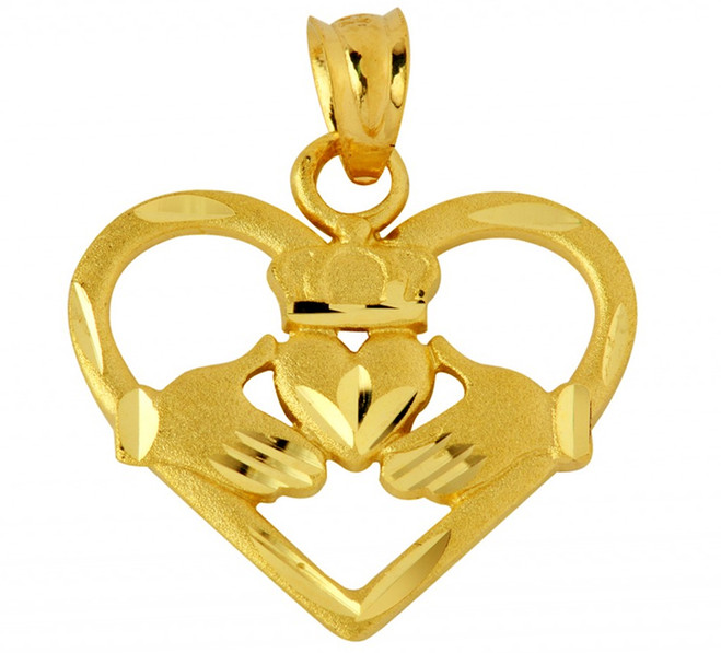 Heart Shaped Claddagh Pendant