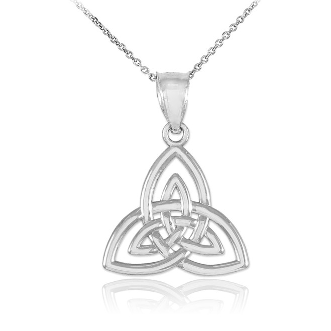 White Gold Celtic Knot Charm Triquetra Pendant Necklace