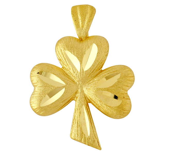 Gold Clover Celtic Pendant