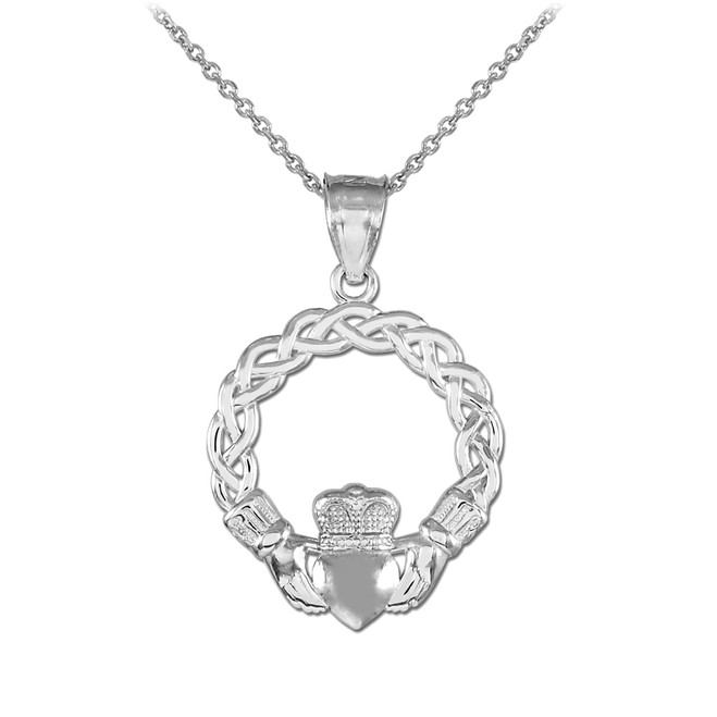 Sterling Silver Braided Claddagh Charm Pendant Necklace
