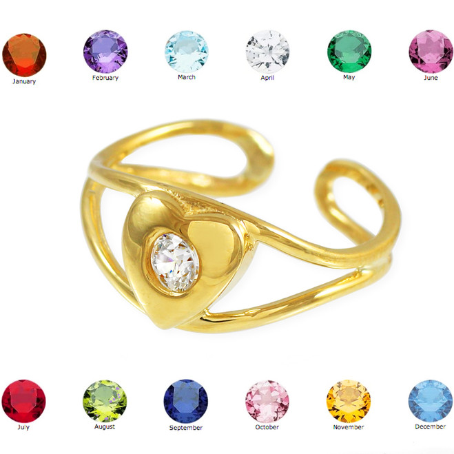 Gold Heart Birthstone CZ Toe Ring