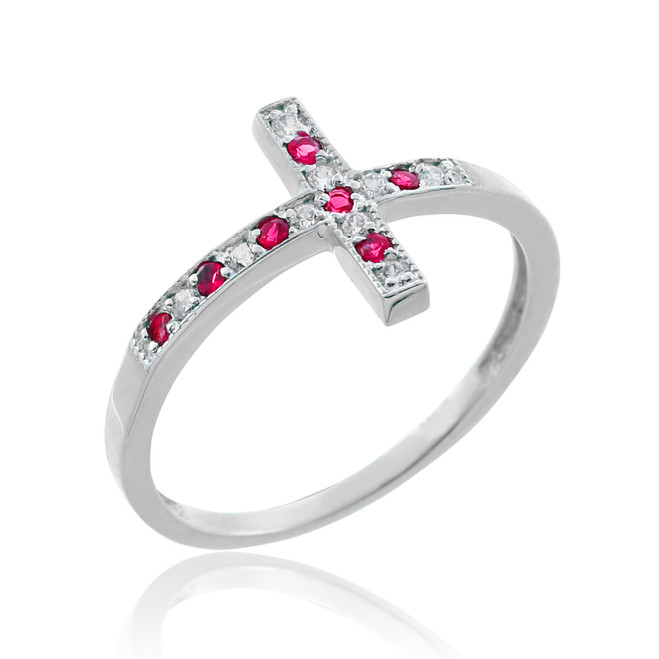 White Gold Sideways Cross Red Zirconia Ring