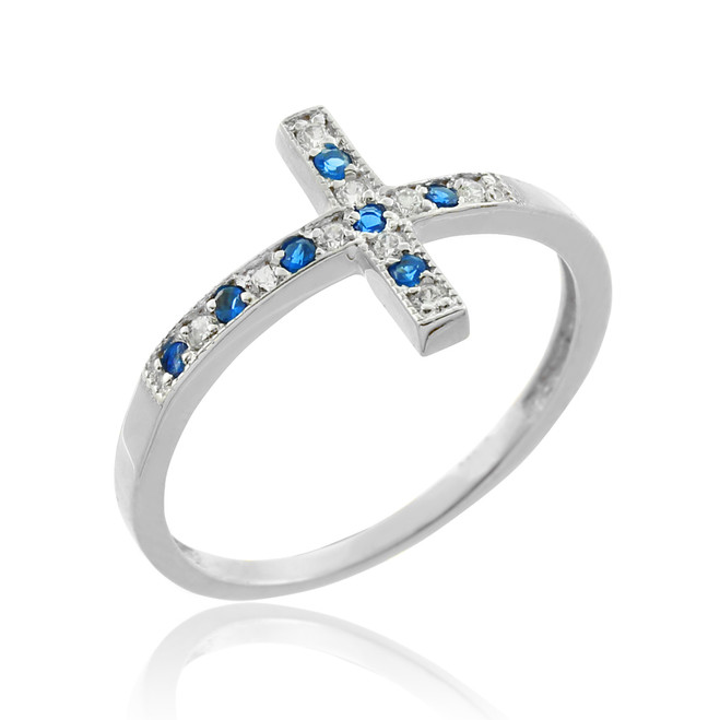 White Gold Sideways Cross Blue Zirconia Ring
