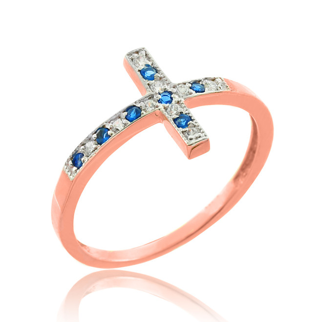 Rose Gold Diamond Sideways Cross Ring with Sapphire