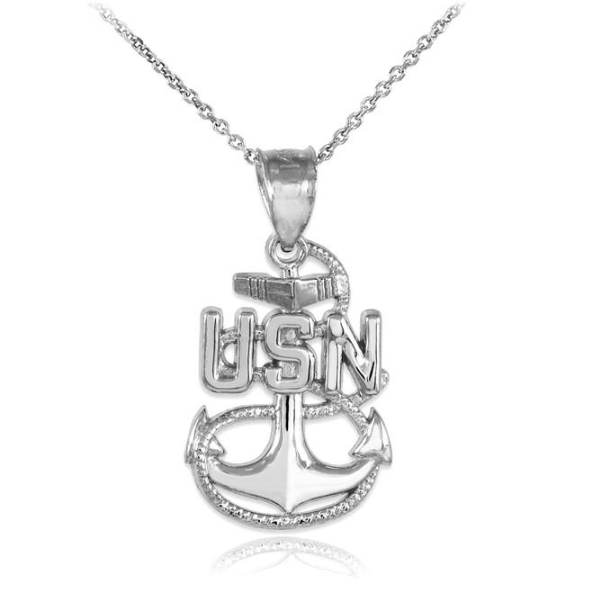 White Gold United States Navy Pendant Necklace