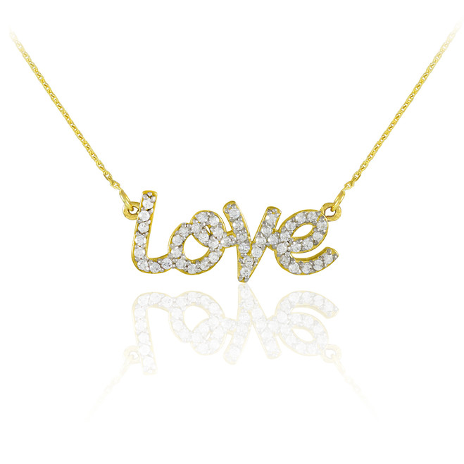 "14K Gold ""Love"" CZ Necklace"
