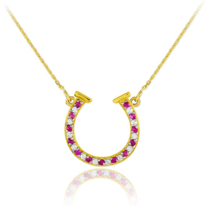 14K Gold Diamond & Ruby Horseshoe Necklace