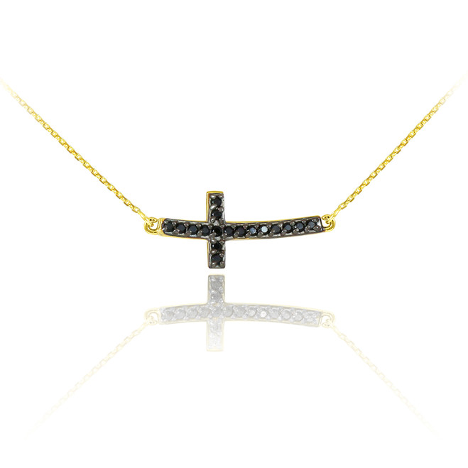 14K Gold Sideways Curved Cross Black Diamond Cute Necklace