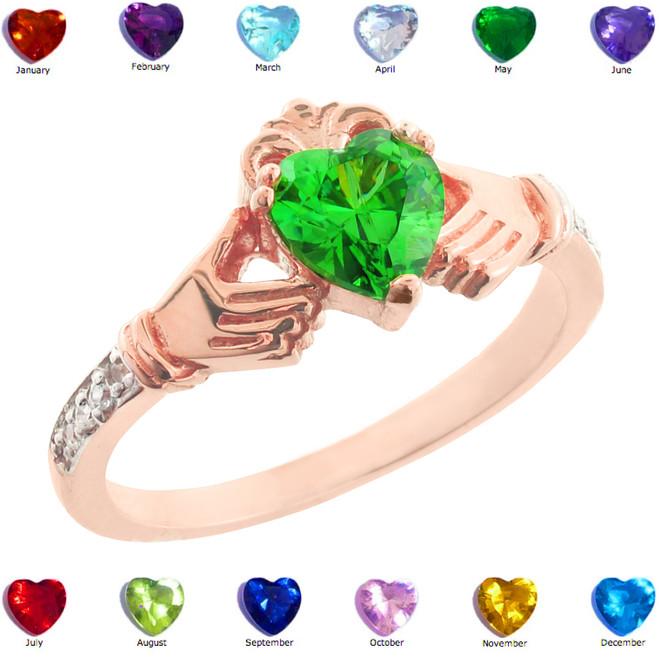 Rose Gold Claddagh CZ Birthstone Ring with Diamonds