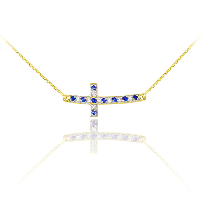 14K Gold Cute Sideways Curved Cross Blue and Clear CZ Necklace
