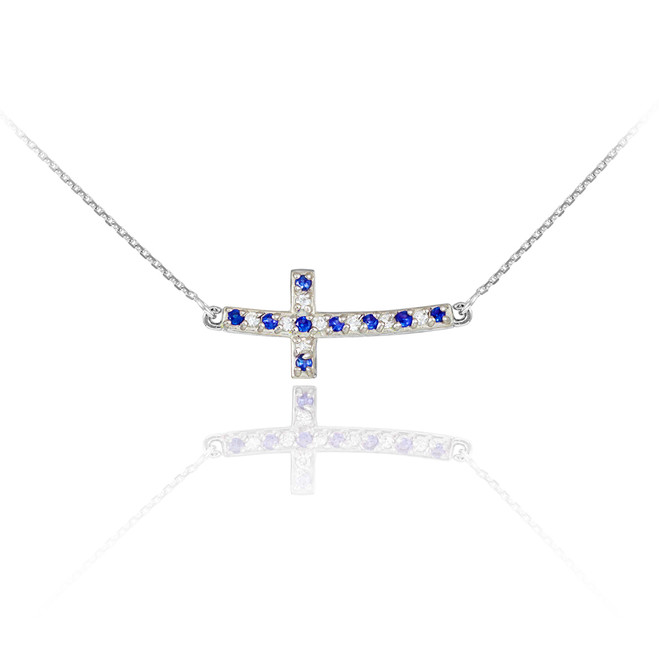 14k White Gold Diamond and Sapphire Sideways Curved Cross Necklace