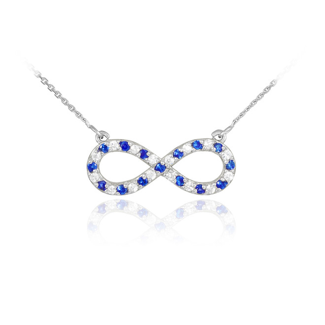 14K White Gold Diamond and Sapphire Infinity Necklace