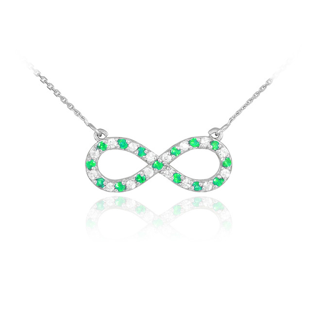 14K White Gold Diamond and Emerald Infinity Necklace