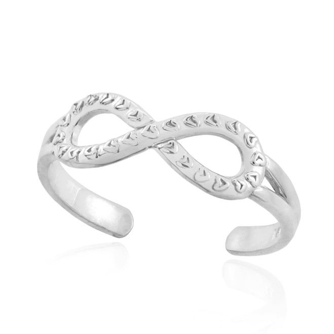 Sterling Silver Infinity Toe Ring with Hearts Texture