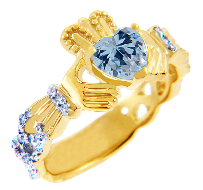 18K Gold Diamond Claddagh Ring with 0.40 Carats of Diamonds and Aquamarine Birthstone.