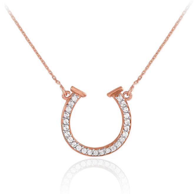 14K Rose Gold Diamond Horseshoe Necklace