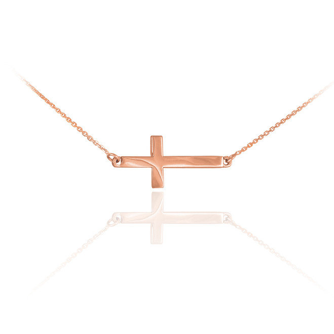 14K Solid Rose Gold Sideways Cross Cute Necklace