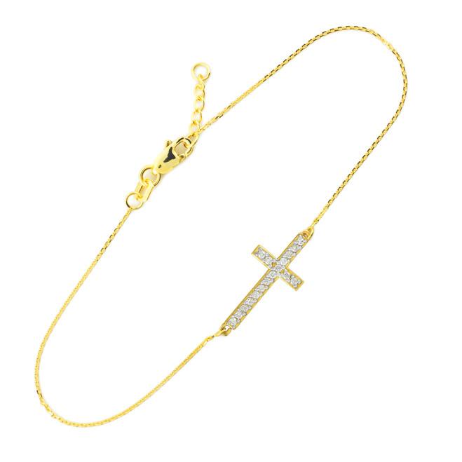 14K Gold Sideways Cross Cute CZ Bracelet