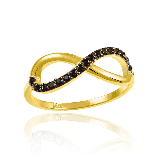 Gold Infinity Ring with Black CZ