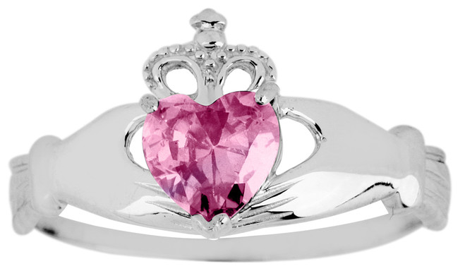 White Gold Claddagh Ring Ladies with pink CZ Birthstone.  Available in your choice of 14k or 10k White Gold.
