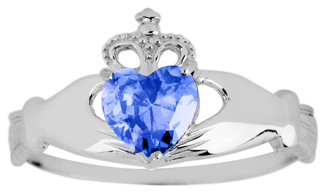 White Gold Birthstone Claddagh Ring Sapphire
