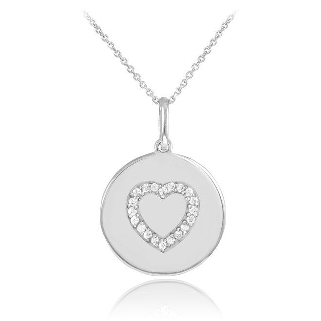 14K White Gold Heart Diamond Disc Pendant Necklace