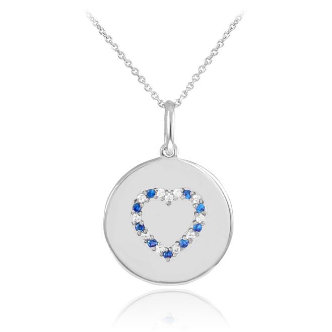 14k White Gold Heart Studded Sapphire & Diamond Disc Pendant Necklace