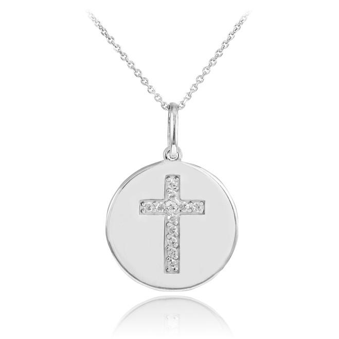 14K White Gold Cross Diamond Disc Pendant Necklace