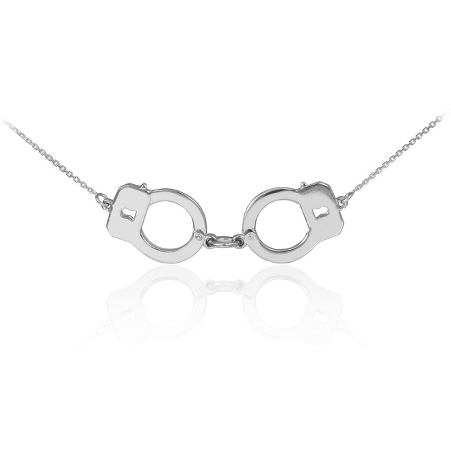 14k White Gold Handcuffs Necklace