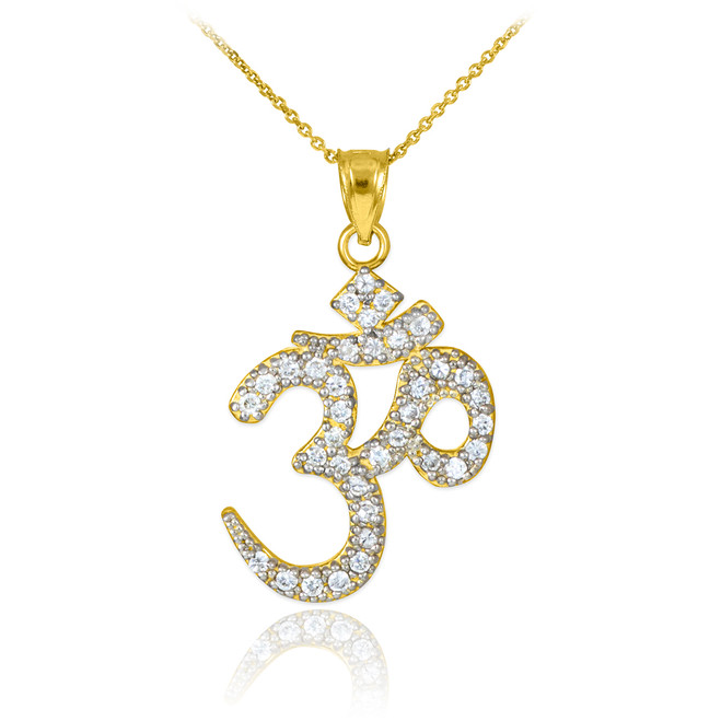14k Gold Om Diamond Pendant Necklace