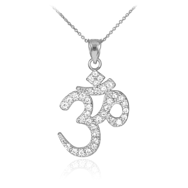 14k White Gold Om Diamond Pendant Necklace