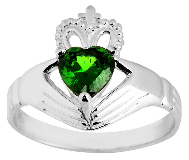 White Gold Claddagh Ladies Ring with Emerald