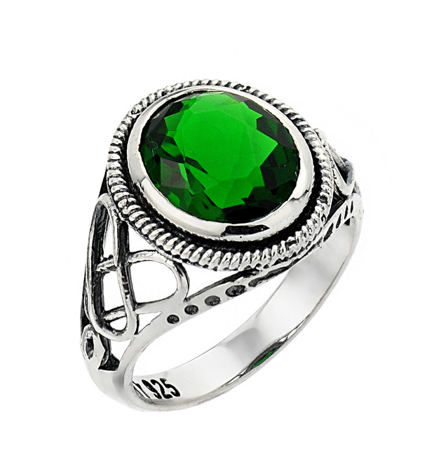 Silver Trinity Knot Emerald Ring