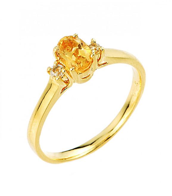 Gold Citrine and White Topaz Gemstone Ring