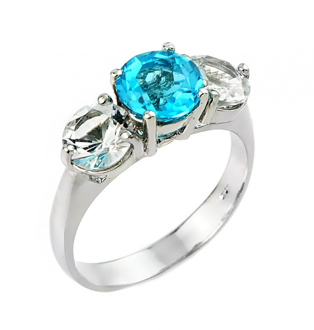 Sterling Silver Blue and White Topaz Gemstone Ring
