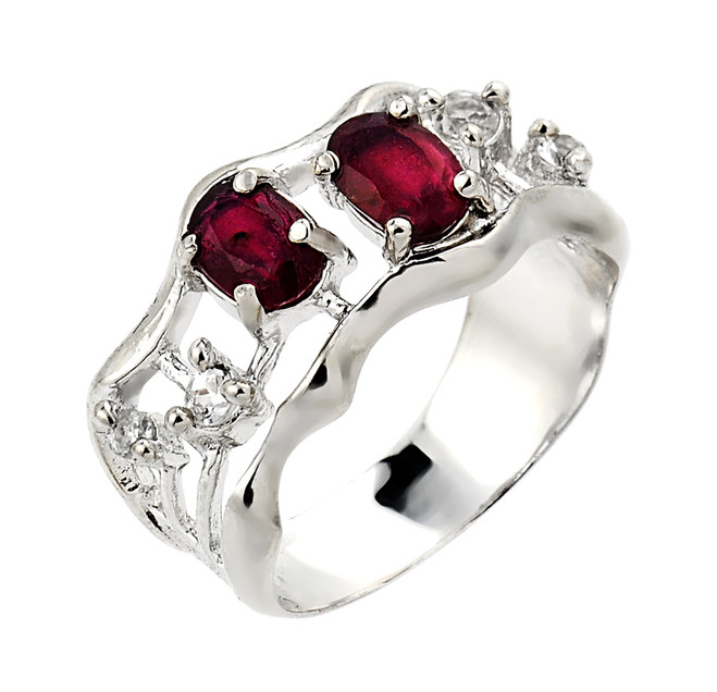Sterling Silver Ruby and White Topaz Ring