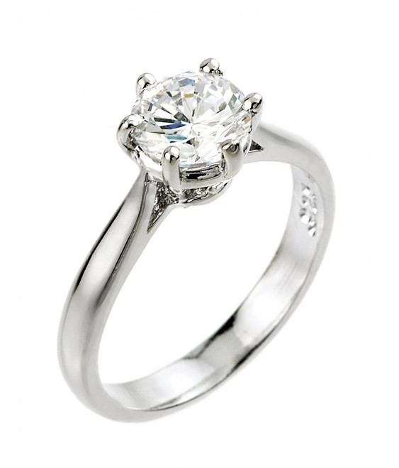 2 ct CZ (8 mm round) solitaire engagement ring in 10k or 14k white gold.