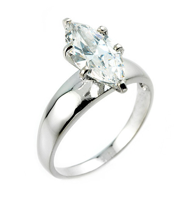 Sterling Silver 2.75 ct CZ Marquise Solitaire Engagement Ring