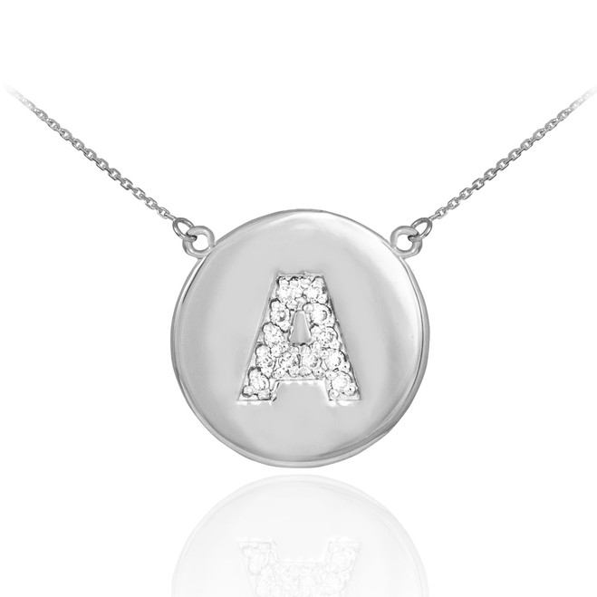 """14k White Gold Letter """"A"""" Initial Diamond Disc Necklace"""