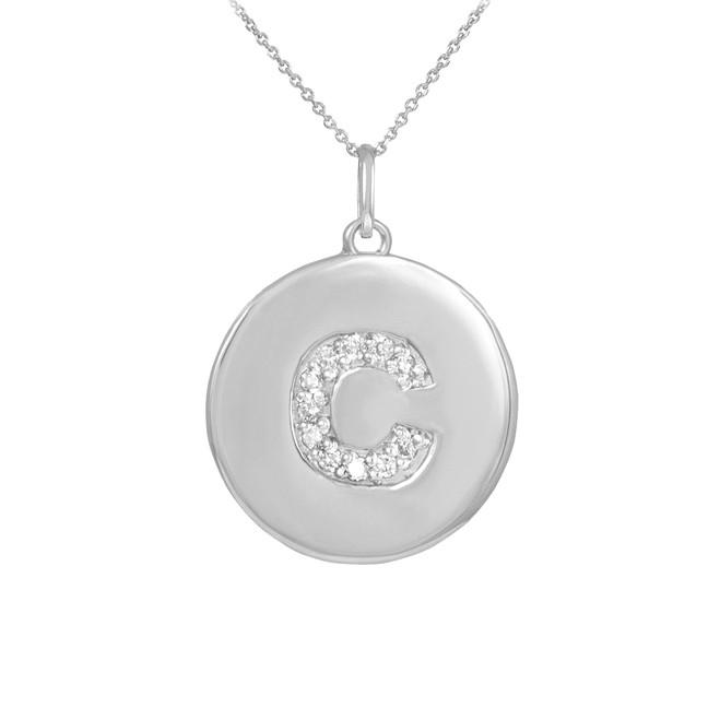 "White Gold Letter ""C"" Initial Diamond Disc Pendant Necklace"