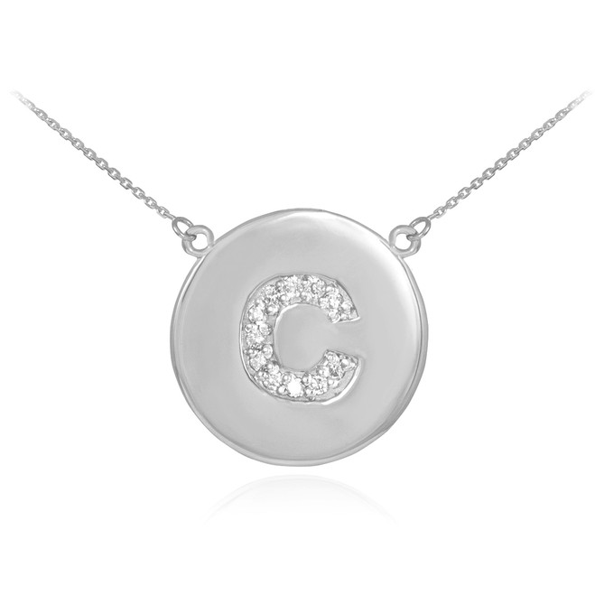 """14k White Gold Letter """"C"""" Initial Diamond Disc Necklace"""